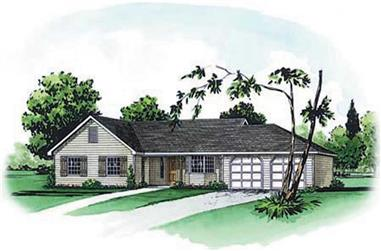 3-Bedroom, 1362 Sq Ft Country House Plan - 164-1199 - Front Exterior
