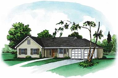 3-Bedroom, 1362 Sq Ft Country House Plan - 164-1201 - Front Exterior