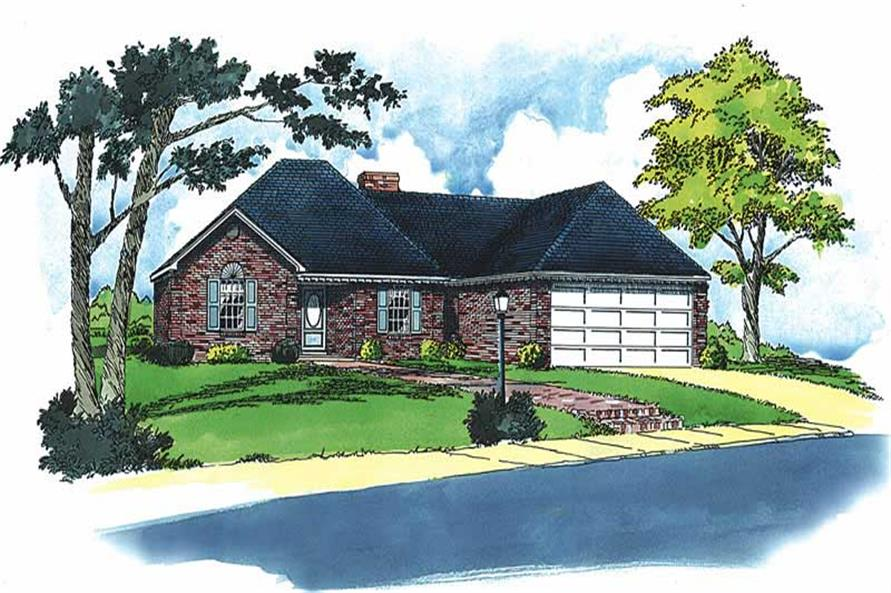 3-Bedroom, 1334 Sq Ft European House Plan - 164-1202 - Front Exterior