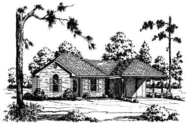 3-Bedroom, 1334 Sq Ft Country House Plan - 164-1203 - Front Exterior