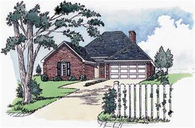3-Bedroom, 1350 Sq Ft European House Plan - 164-1204 - Front Exterior