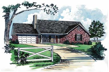 3-Bedroom, 1363 Sq Ft Country House Plan - 164-1205 - Front Exterior