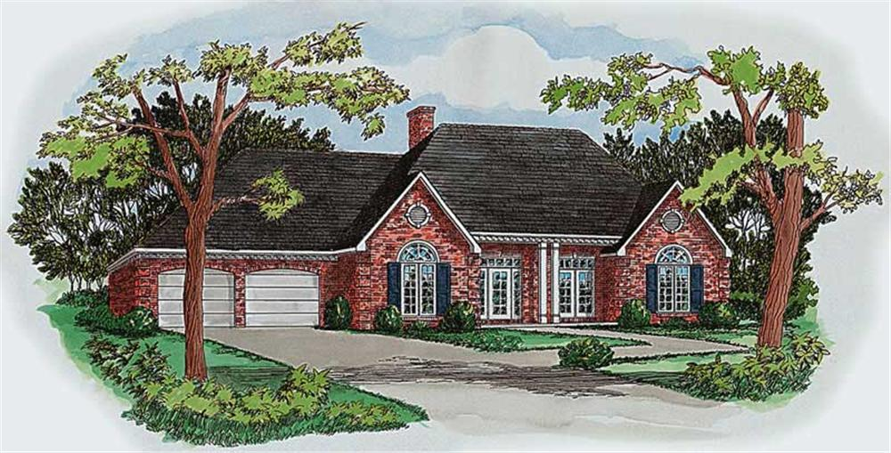 Front elevation of European home (ThePlanCollection: House Plan #164-1206)
