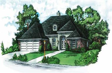 3-Bedroom, 1324 Sq Ft European House Plan - 164-1207 - Front Exterior