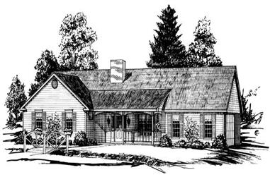 3-Bedroom, 1604 Sq Ft Country House Plan - 164-1208 - Front Exterior