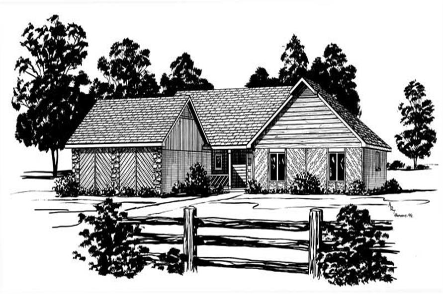 3-Bedroom, 1654 Sq Ft Country House Plan - 164-1212 - Front Exterior
