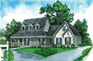 3-Bedroom, 1573 Sq Ft Country House Plan - 164-1213 - Front Exterior
