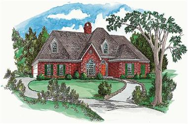 3-Bedroom, 1556 Sq Ft European House Plan - 164-1214 - Front Exterior