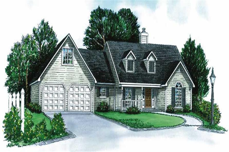 3-Bedroom, 1379 Sq Ft Cape Cod House Plan - 164-1215 - Front Exterior