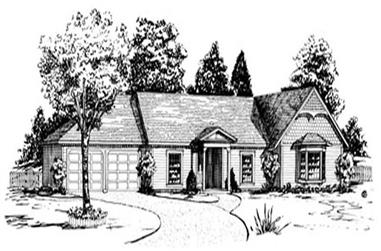 3-Bedroom, 1549 Sq Ft Country House Plan - 164-1216 - Front Exterior