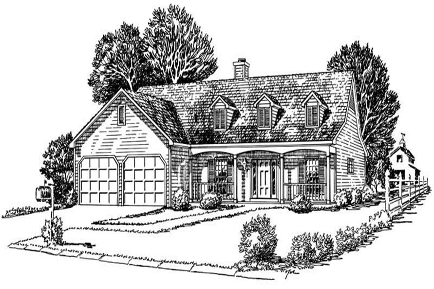 3-Bedroom, 1355 Sq Ft Cape Cod House Plan - 164-1217 - Front Exterior