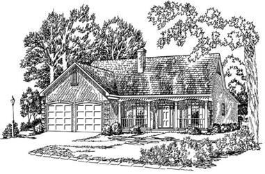3-Bedroom, 1443 Sq Ft Country House Plan - 164-1218 - Front Exterior