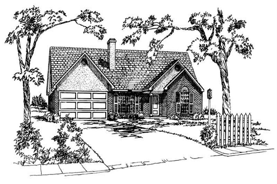 3-Bedroom, 1408 Sq Ft Country House Plan - 164-1220 - Front Exterior
