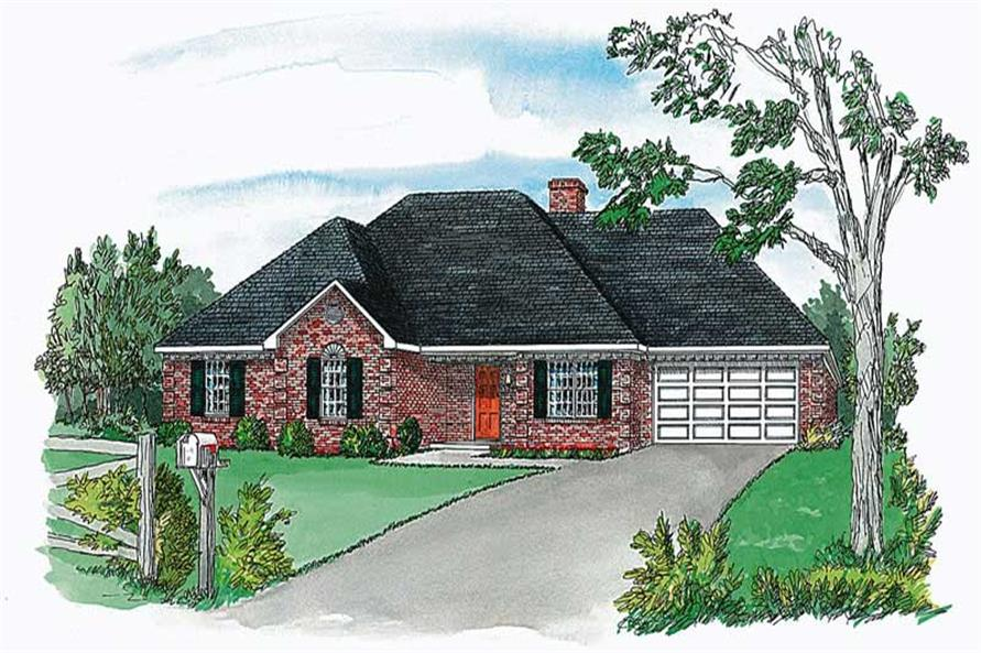 3-Bedroom, 1484 Sq Ft European House Plan - 164-1221 - Front Exterior