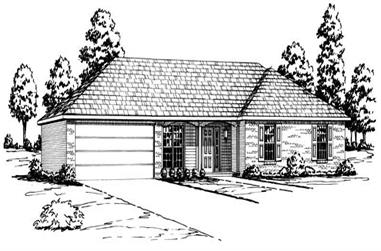 3-Bedroom, 1487 Sq Ft Country House Plan - 164-1222 - Front Exterior