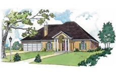 Colored front elevation image for French house plan # 1776