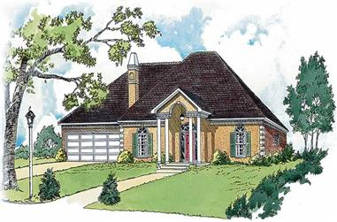 3-Bedroom, 1531 Sq Ft European House Plan - 164-1224 - Front Exterior