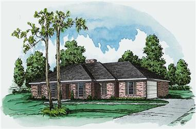 3-Bedroom, 1880 Sq Ft Country House Plan - 164-1229 - Front Exterior
