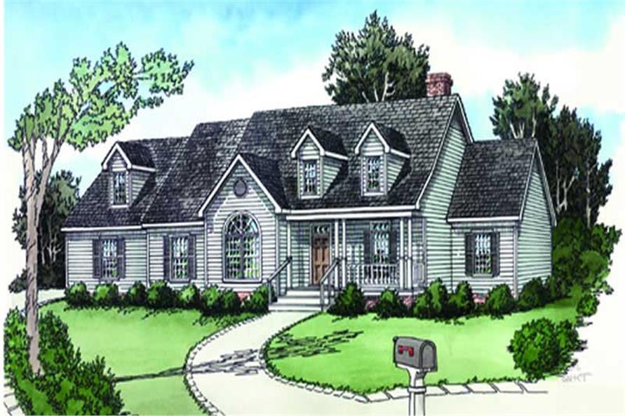 3-Bedroom, 1676 Sq Ft Cape Cod Home Plan - 164-1232 - Main Exterior