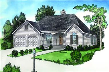 2-Bedroom, 1088 Sq Ft Country House Plan - 164-1235 - Front Exterior