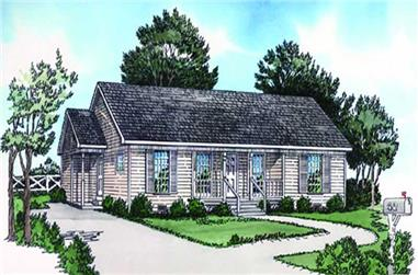 2-Bedroom, 1025 Sq Ft Country House Plan - 164-1236 - Front Exterior