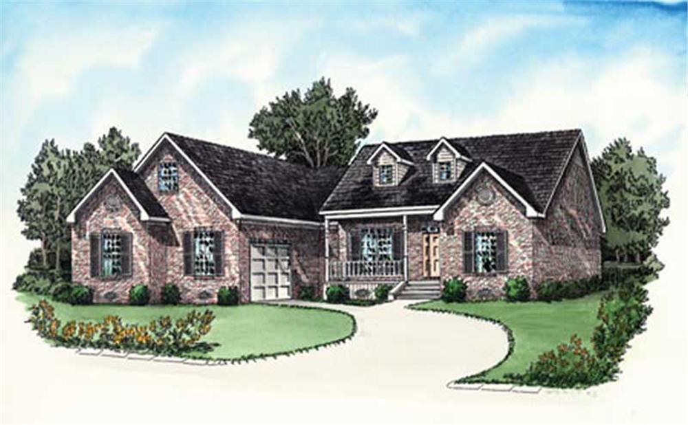Traditional Housplans color rendering.