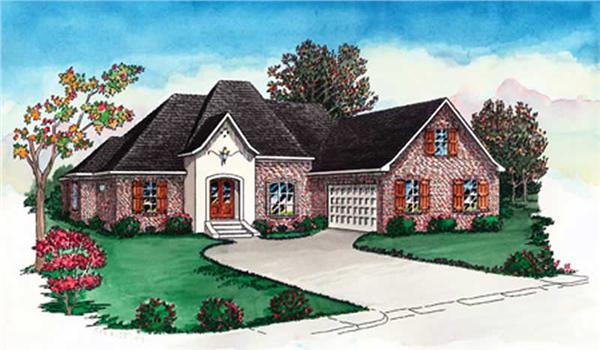 French House Plans # 10356 front elevation.
