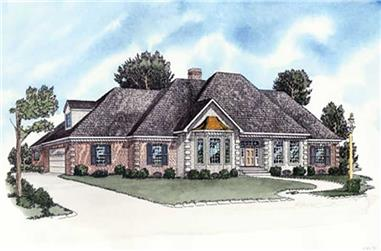 3-Bedroom, 1716 Sq Ft European House Plan - 164-1248 - Front Exterior