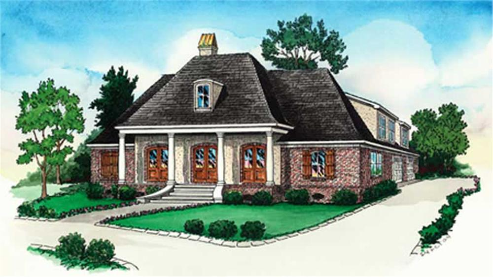 Front elevation of French home (ThePlanCollection: House Plan #164-1254)