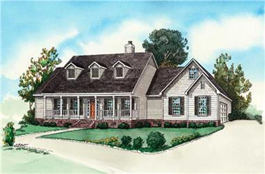 3-Bedroom, 1672 Sq Ft Country Home Plan - 164-1257 - Main Exterior
