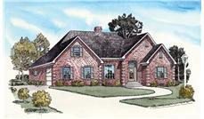 Main colored image for country home plan # 9171