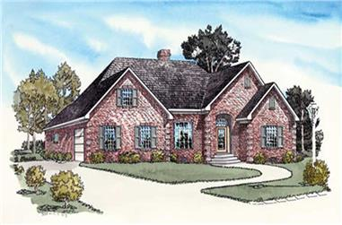 3-Bedroom, 1818 Sq Ft Country House Plan - 164-1264 - Front Exterior