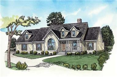 4-Bedroom, 1921 Sq Ft Country House Plan - 164-1268 - Front Exterior