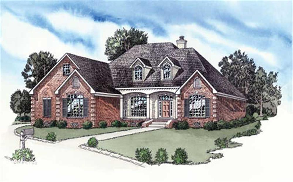 Front elevation of European home (ThePlanCollection: House Plan #164-1269)