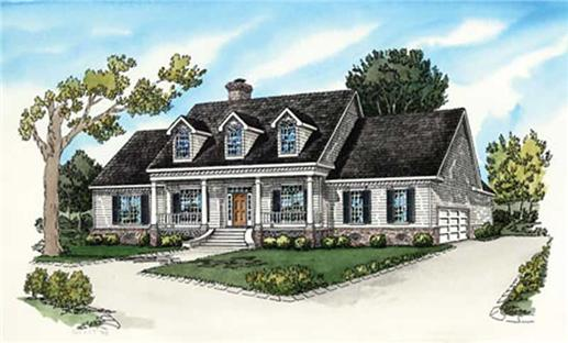 Country Home Plans colored rendering.
