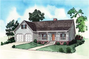 3-Bedroom, 1768 Sq Ft Country Home Plan - 164-1278 - Main Exterior
