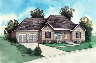 2-Bedroom, 987 Sq Ft Ranch Home Plan - 164-1282 - Main Exterior