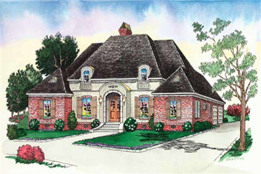 French house plans # 10340 color rendering.