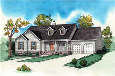 3-Bedroom, 1589 Sq Ft Country House Plan - 164-1290 - Front Exterior