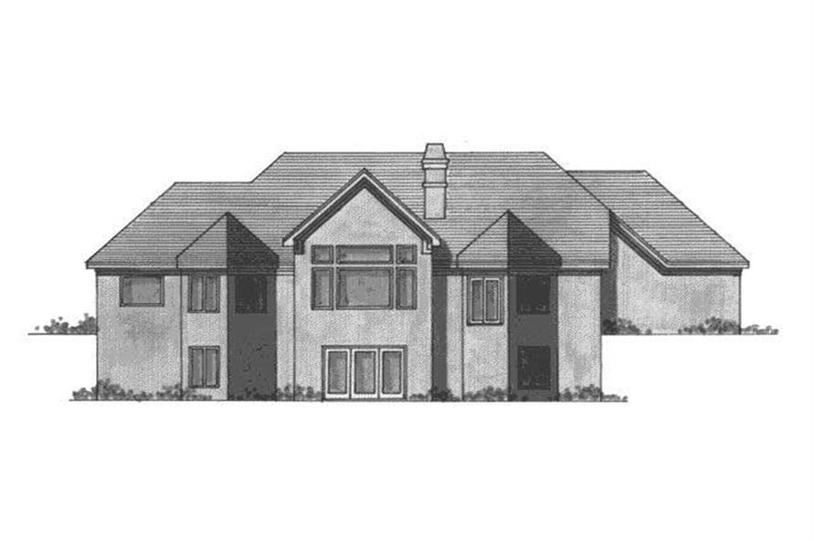 Home Plan Rear Elevation of this 3-Bedroom,3553 Sq Ft Plan -165-1000