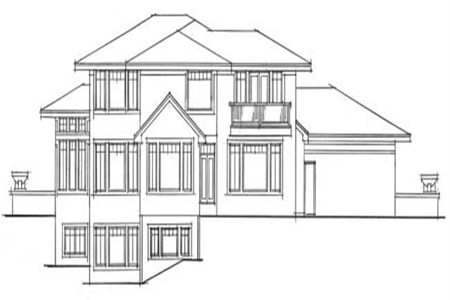 Home Plan Rear Elevation of this 4-Bedroom,3190 Sq Ft Plan -165-1001