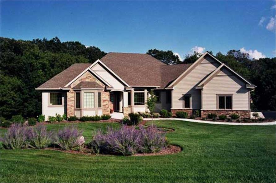 Luxury Ranch Homeplans CLS-4107 front elevation.