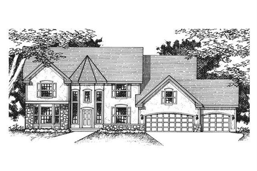 This image shows the front elevation of Victorian Home Plans CLS-2608.