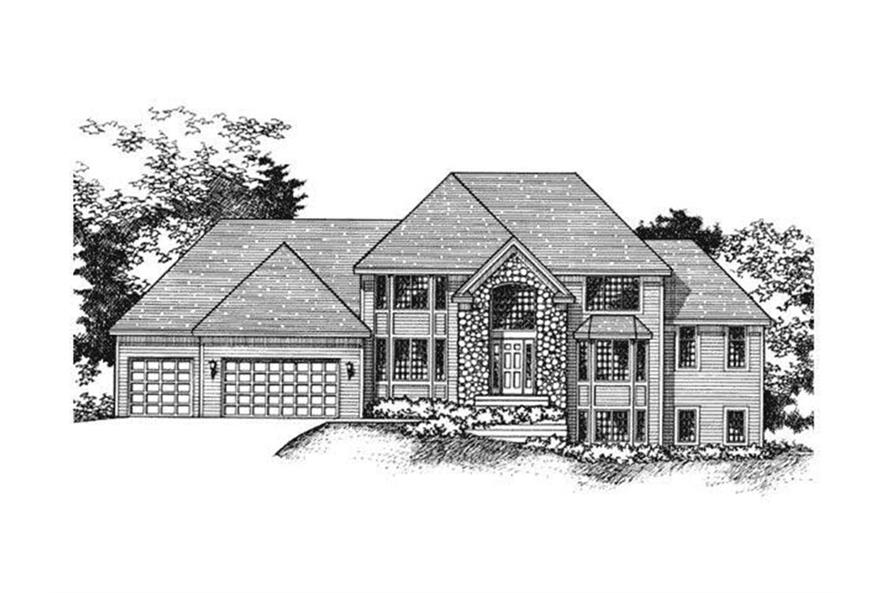 165-1006: Home Plan Front Elevation