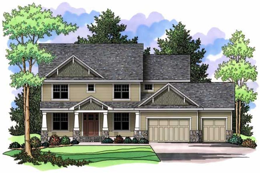 Country Houseplans CLS-3309 colored front elevation.