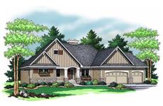 Colored Rendering for Ranch Home plans 165-1011