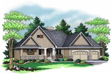 1-Bedroom, 2143 Sq Ft Country Home Plan - 165-1011 - Main Exterior