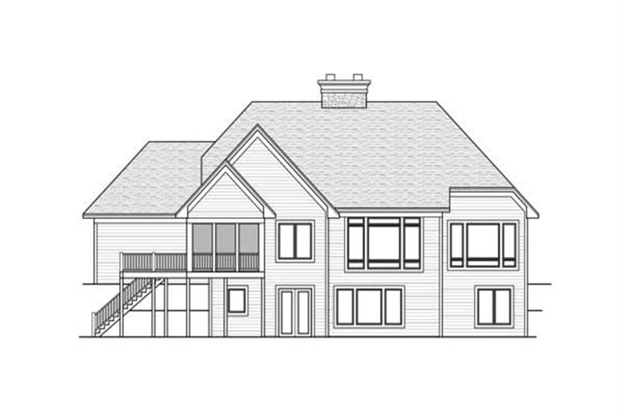 Home Plan Rear Elevation of this 1-Bedroom,2143 Sq Ft Plan -165-1011