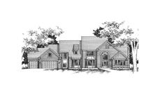 This image shows the front elevation of these Luxury Homeplans.