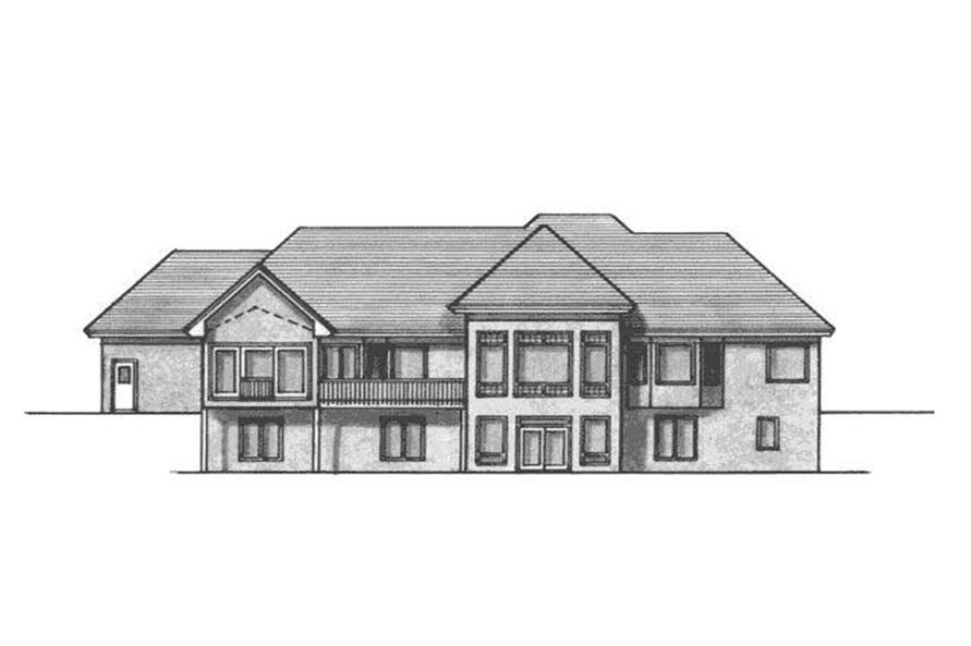 Home Plan Rear Elevation of this 4-Bedroom,4852 Sq Ft Plan -165-1015